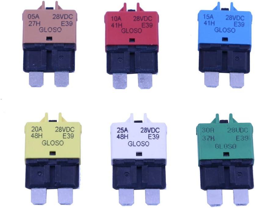 T Tocas Manual Reset Low Profile ATC Circuit Breakers 12V - 28VDC 5A 10A 15A 20A 25A 30A (Mixed)