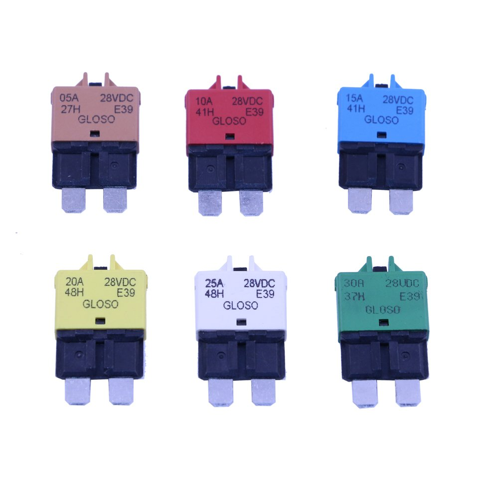 T Tocas Manual Reset Low Profile ATC Circuit Breakers 12V - 28VDC (Mixed) Lula