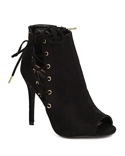 FH88 Women Faux Suede Peep Toe Corset Lace Up Stiletto Bootie - Black