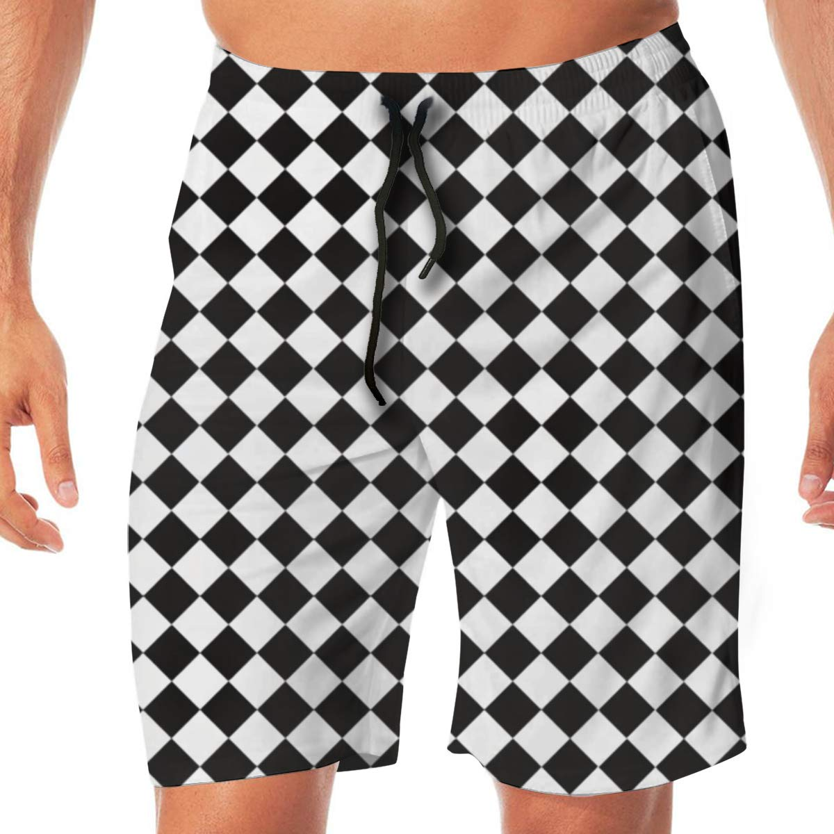 Woxianghe Mens Active Athletic Performance Shorts with Pockets Chess Checkerboard