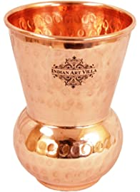 IndianArtVilla Copper Mathat Glass Tumbler, Hammer Design, 300 ML