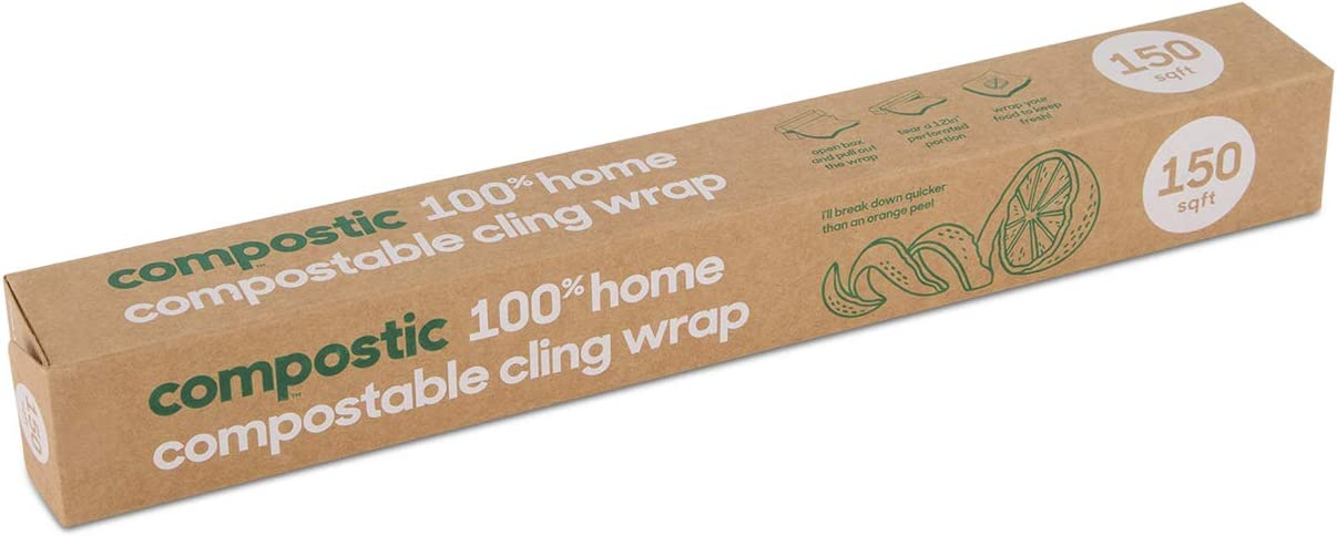 Compostic Home Compostable Cling Wrap - Eco Friendly, Reusable, Zero Waste, Non-Toxic, Guilt-Free - Beeswax and Plastic Alternative for Earth Friendly Food Wrap/Food Storage - 150 SQ.FT (2 Pack)