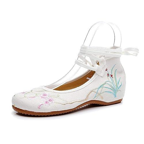 BOZEVON Zapatos Bordados para Mujer - Sandalias Planas con Tobillo Bowknot Zapatos Solos Bordados: Amazon.es: Zapatos y complementos