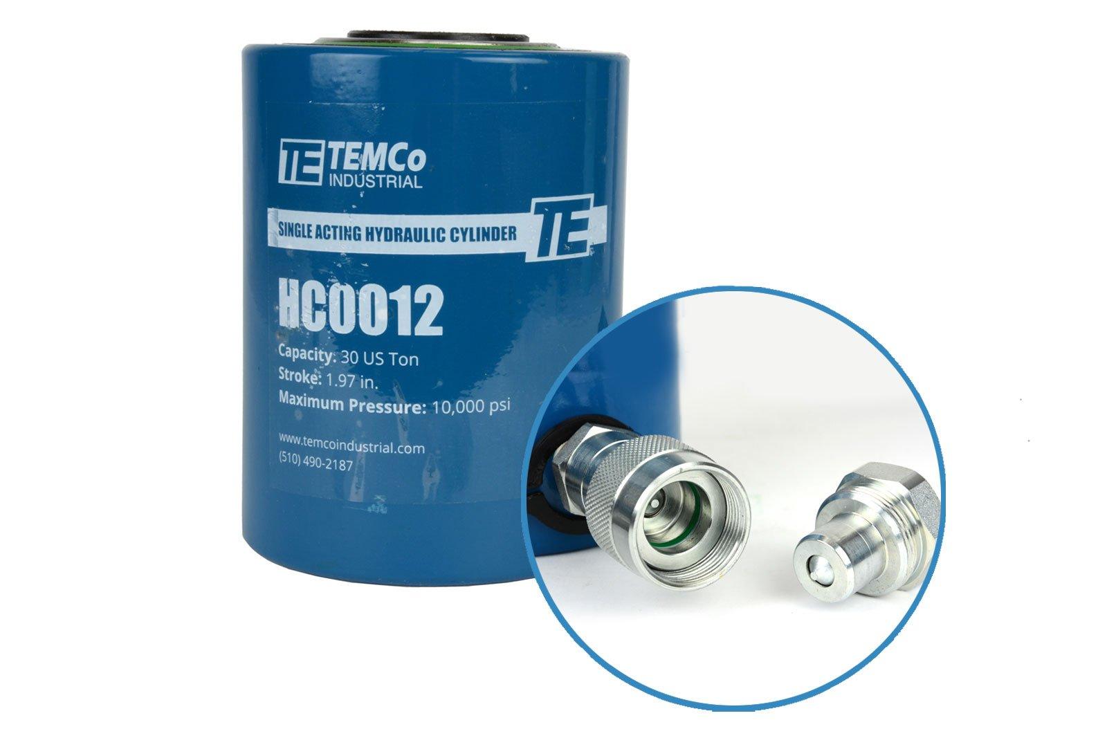 TEMCo HC0012 - Hydraulic Cylinder Ram Single Acting 30 TON 2'' Inch Stroke - 5 Year Warranty