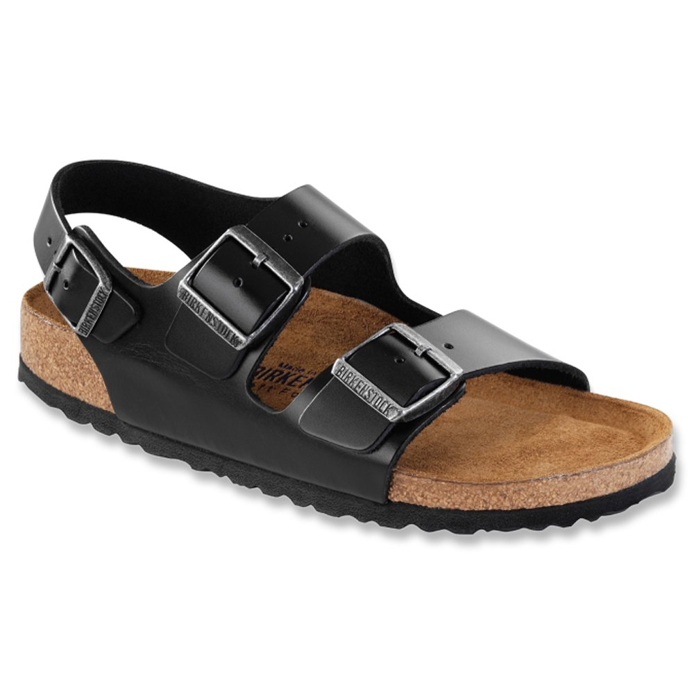 Birkenstock Men's Milano SFB LT Flat,Black Amalfi Leather,36 EU/5-5.5 M US