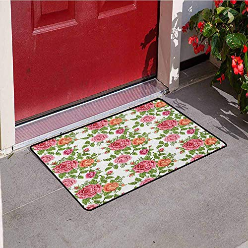 (GloriaJohnson Roses Welcome Door mat Embroidery Style Graphic Flowers with Green Leaves Old Fashioned Romantic Door mat is odorless and Durable W29.5 x L39.4 Inch Pink Green Salmon)