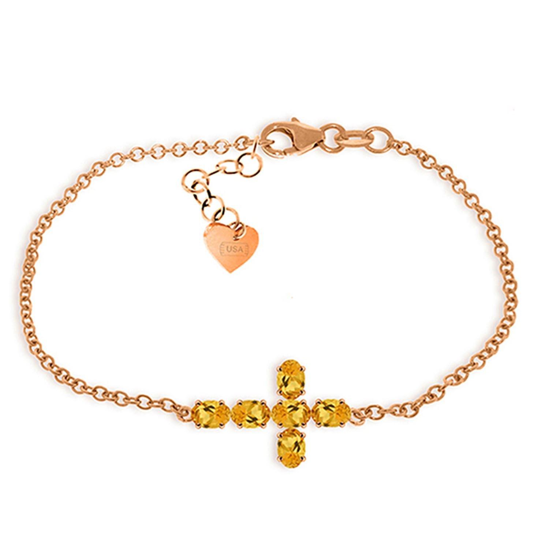 ALARRI 1.7 Carat 14K Solid Rose Gold Cross Bracelet Natural Citrine Size 7.5 Inch Length