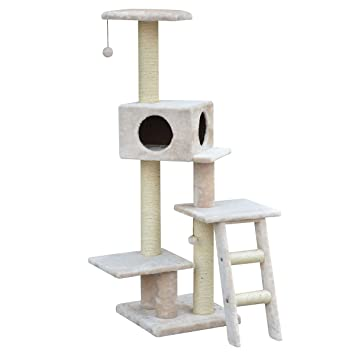 PETPALS GROUP Multi Level Fleece And Sisal With Teaser And Hideout Condo