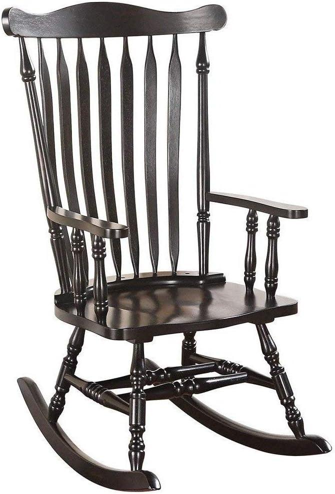 schwarz Benzara Wooden Rocking Chair with Contoured Seat Black BM185745 Schaukelstuhl aus Holz mit Muldensitz