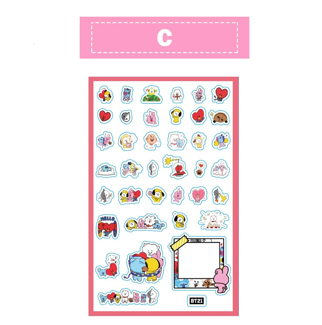 BT21-A, 1pcs BTS BT21 Facial Sticker KOYA SHOOKY Cooky TATA CHIMMY RJ Decals Paper Doll for Car Phone Pad Laptop