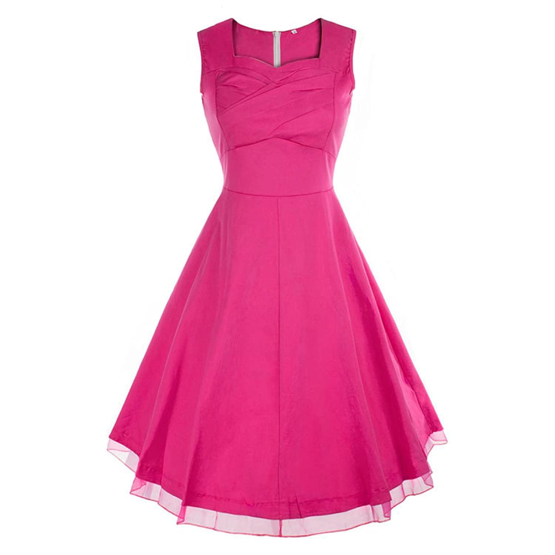 Frau Retro-Taille Dünnes Sleeveless Kleid,RoseRed-M
