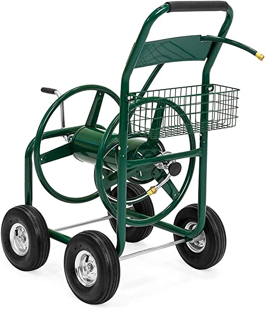 DYHQQ El Carro de Carrete de Manguera de jardín Tiene Capacidad para 300 pies de Manguera de 5/8 Pulgadas con Canasta de 4 Ruedas Verde: Amazon.es: Hogar