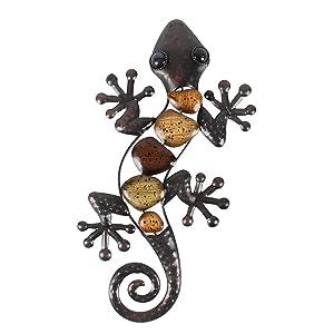 Liffy Metal Gecko Wall Art Lizard Outdoor Decor Garden Decorations Bronze, 15'' Long