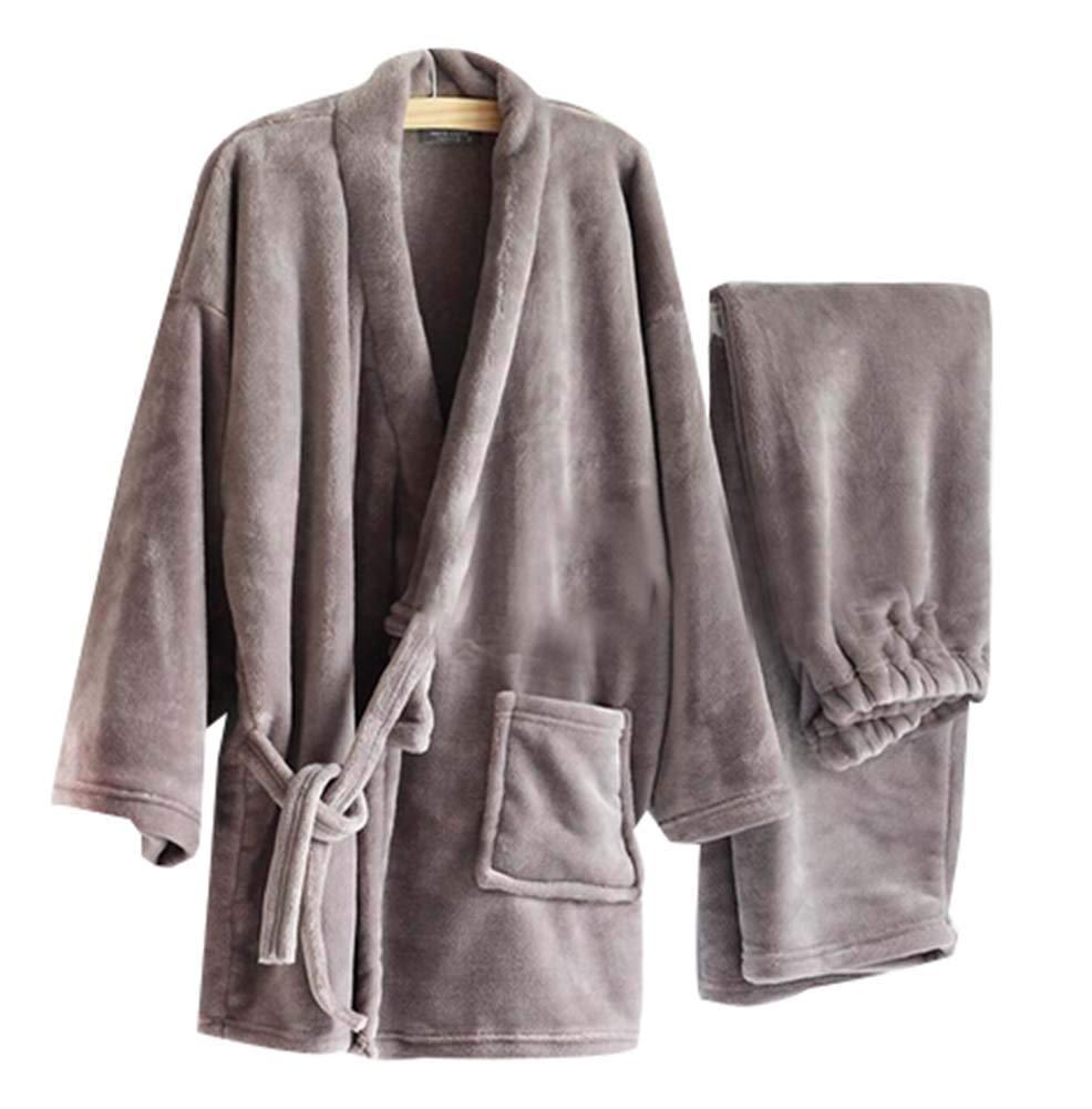 Blancho Bedding Pyjamas de Kimono pour Hommes en Flanelle Chaude Vêtements de Khan à la Vapeur, Gris