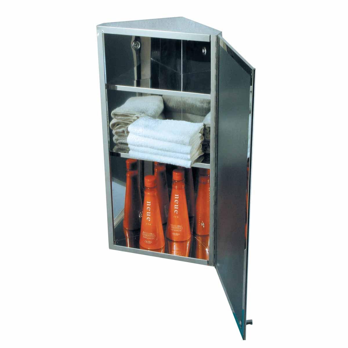 Corner Medicine Cabinet Stainless Steel Mirrored Door Polished Triple Shelf Wall Mount Rustproof by Renovator's Supply