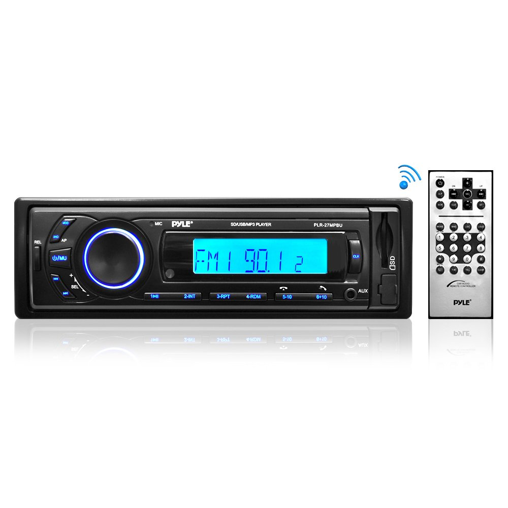 Car Stereo Head Unit Receiver - Premium AM/FM Media Radio w/ MP3 Playback, USB/SD Memory Card Readers, LCD Digital Display & Bluetooth Connectivity - Wiring & Remote Control Included - Pyle PLR27MPBU