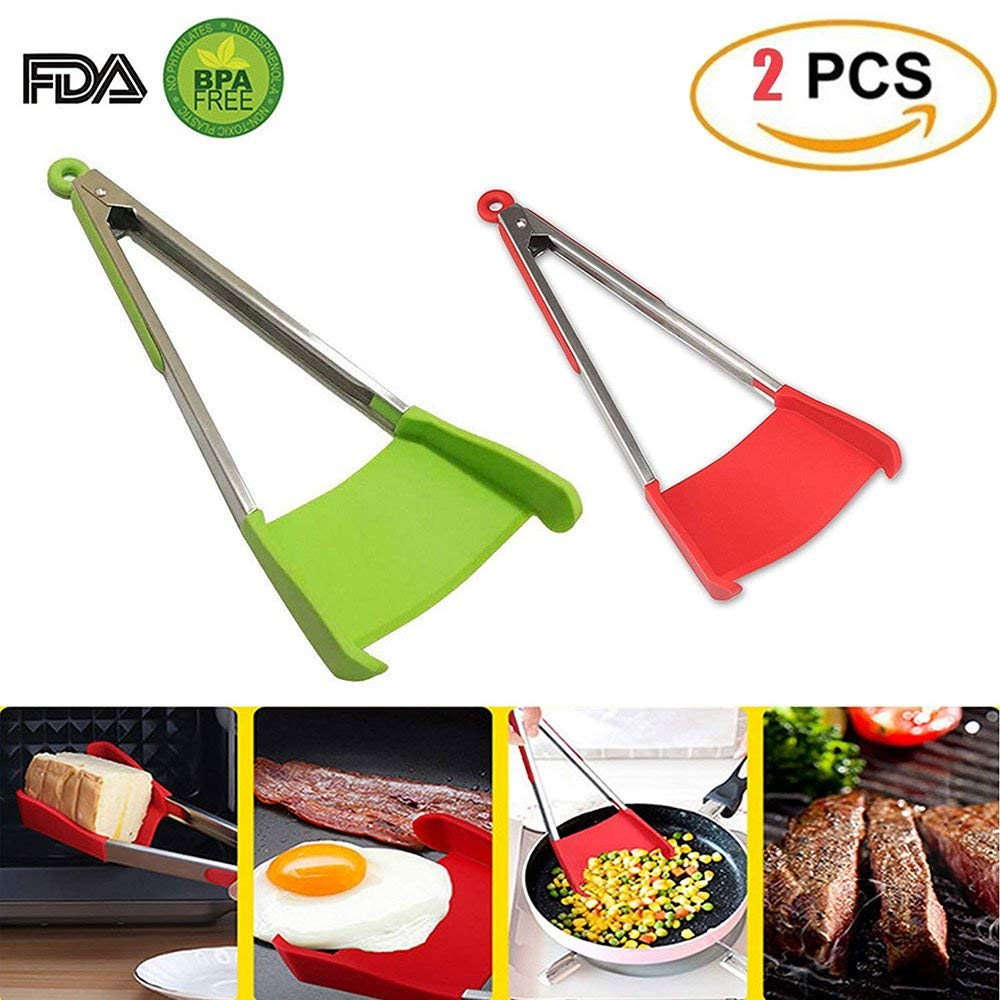 Easy Clean Tongs Kitchen Tool 2 in1 Spatula Silicone and Stainless Steel As Seen On TV Ergonomic Comfortable Grip(2Pack) Compact