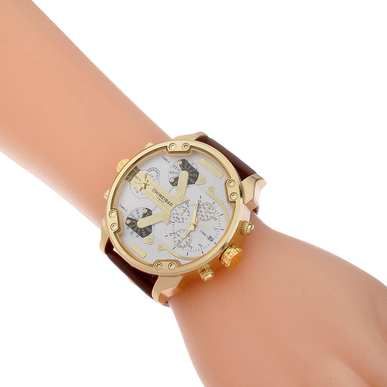 Amazon.com: SHIWEIBAO mens watches sports watch quartz-watch leather dress reloj militar wrist watches: Watches