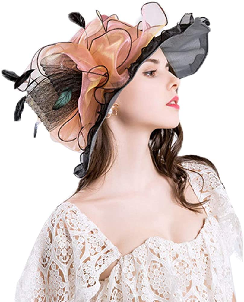 Afoxsos Women Organza Church Hat Fordable Kentucky Derby Fascinator for Tea Party Weeding Bridal