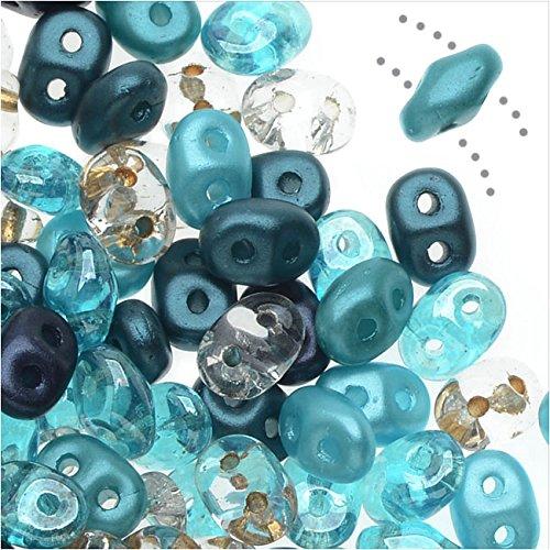 Tube Czech Glass Beads - SuperDuo, Czech Glass 2-Hole Seed Beads 5.5x3mm, 24 Gram Tube, Caribbean Seas