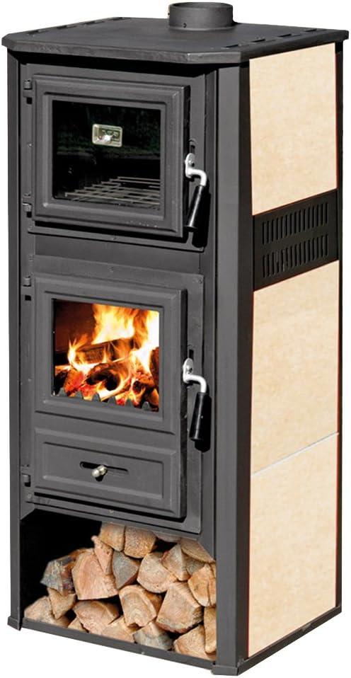 Estufa de leña 10kW de acero fundido con horno color beige, calefacción del hogar Ambasador R