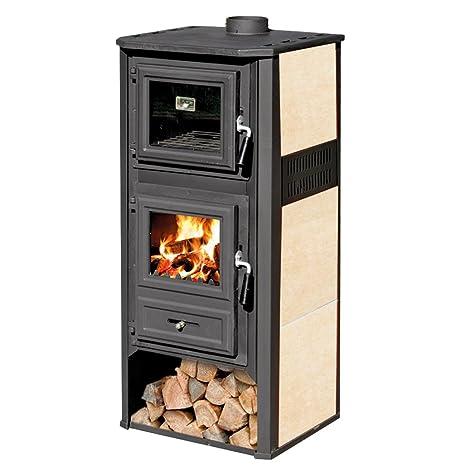 Estufa de leña 10 kW de acero fundido con horno color beige, calefacción del hogar Ambasador R: Amazon.es: Hogar