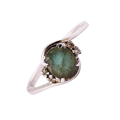 neerupam Collection 925 plata de ley Natural (Panna piedra esmeralda anillo) Esmeralda Diamante Anillo de compromiso para las mujeres: Amazon.es: Joyería