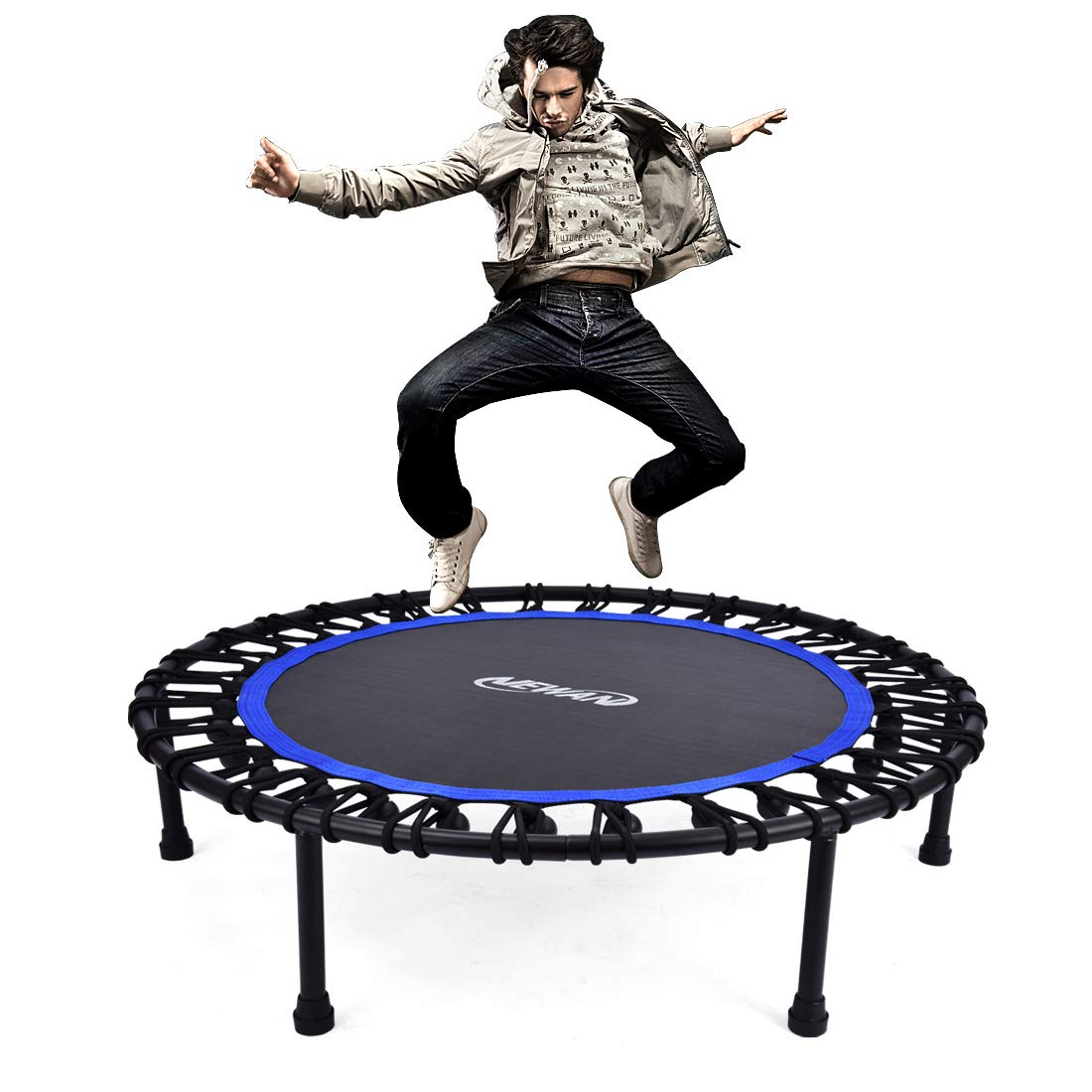Newan 40'' Silent Mini Trampoline Fitness Trampoline Bungee Rebounder Jumping Cardio Trainer Workout for Adults or Kids (Max. Load 330lbs)