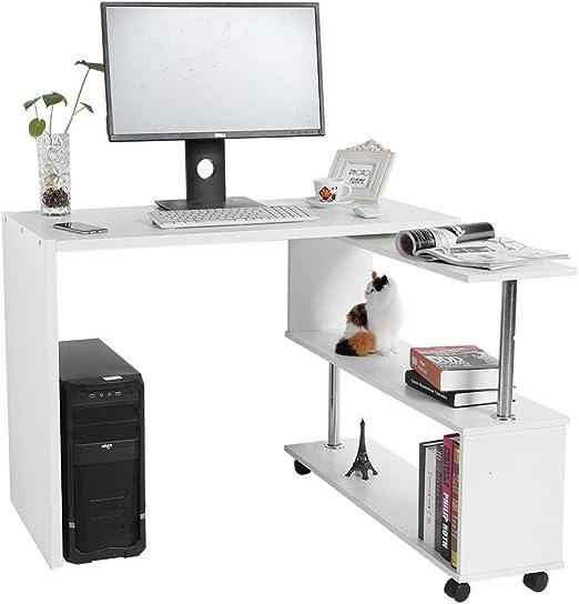 GOTOTOP - Escritorio de madera para ordenador, con estantería ...