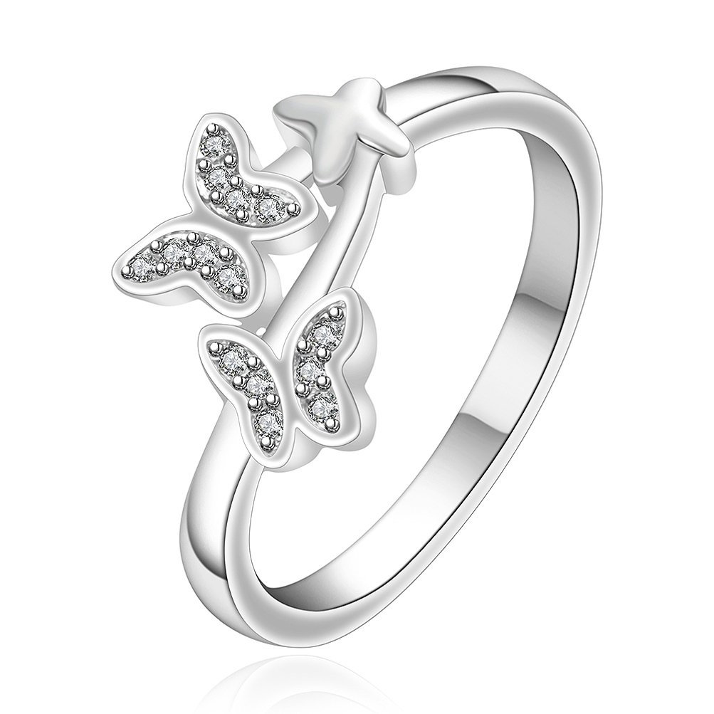 SunIfSnow Women Creative Simulation Butterfly Romantic Couple Fine Silver-Plated Ring 8