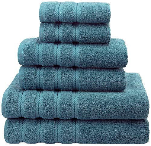 - American Soft Linen Premium, Luxury Hotel & Spa Quality, 6 Piece Kitchen & Bathroom Turkish Towel Set, Cotton for Maximum Softness & Absorbency, [Worth $72.95] Colonial Blue