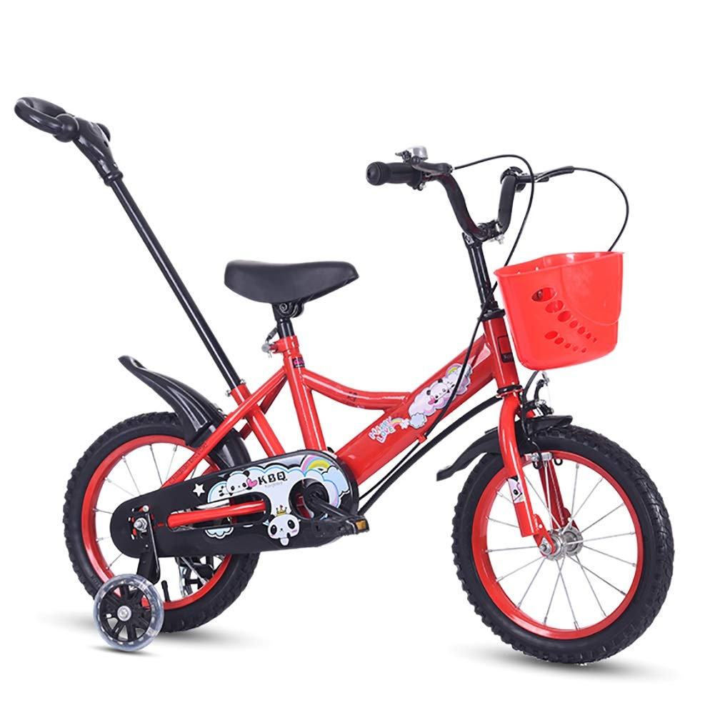 Bici per bambini Guo Shop 12 14 16 Pollici Bici 2-3-5-7 Anni Ragazzi e Ragazze Bambini in età prescolare Carrozzina con Asta di Spinta (colore   Red+Flash Wheel, Dimensioni   12 )