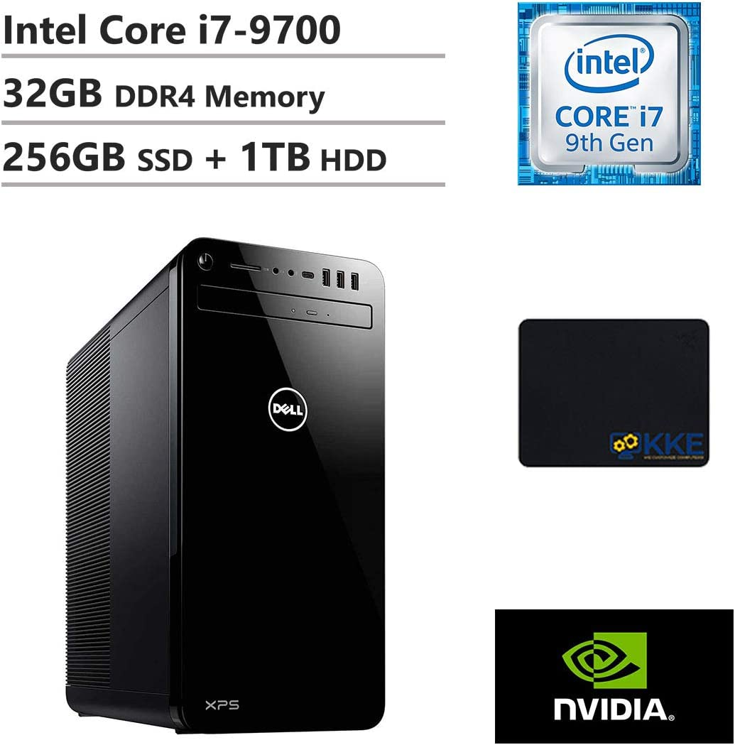 Dell XPS 8930 Tower Desktop, Intel Core i7-9700, 32GB DDR4 Memory, 256GB PCIe Solid State Drive + 1TB Hard Disk Drive, GTX 1650, WiFi, HDMI, DVD-RW, KKE Mousepad, Black, Windows 10