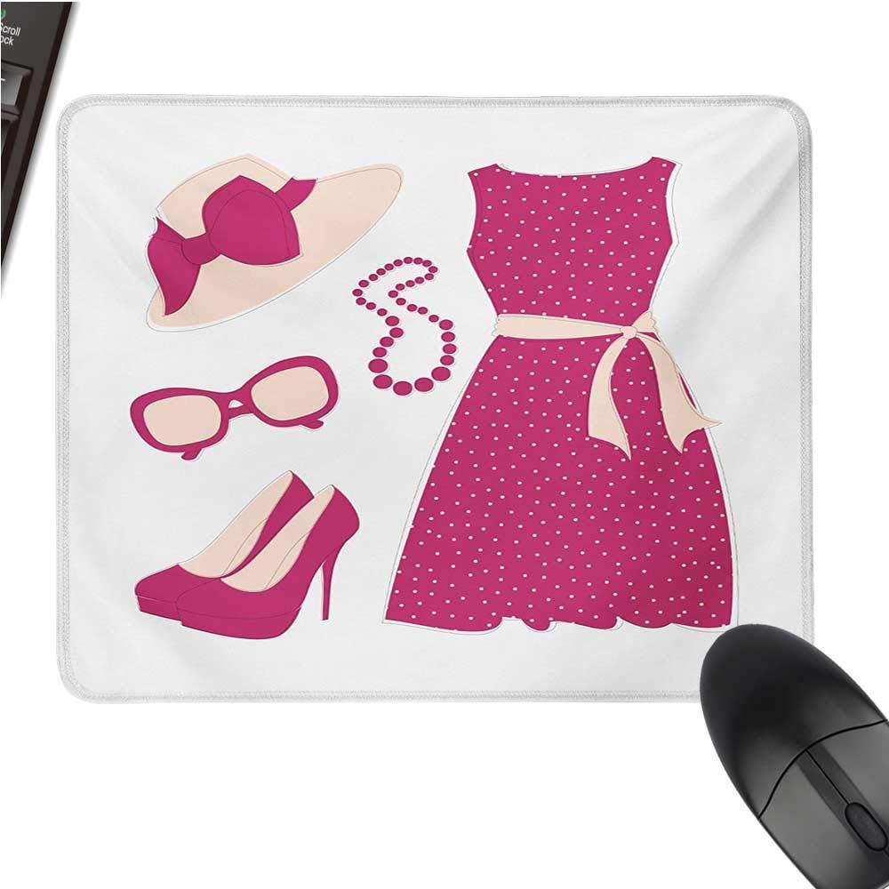 ファッションラージマウスパッド 水彩画ブラシスタイルクールなコートを着た現代女性 カジュアルアーバンデザイン 快適なマウスパッド 9.8インチx11.8インチ 黒 赤 9.8