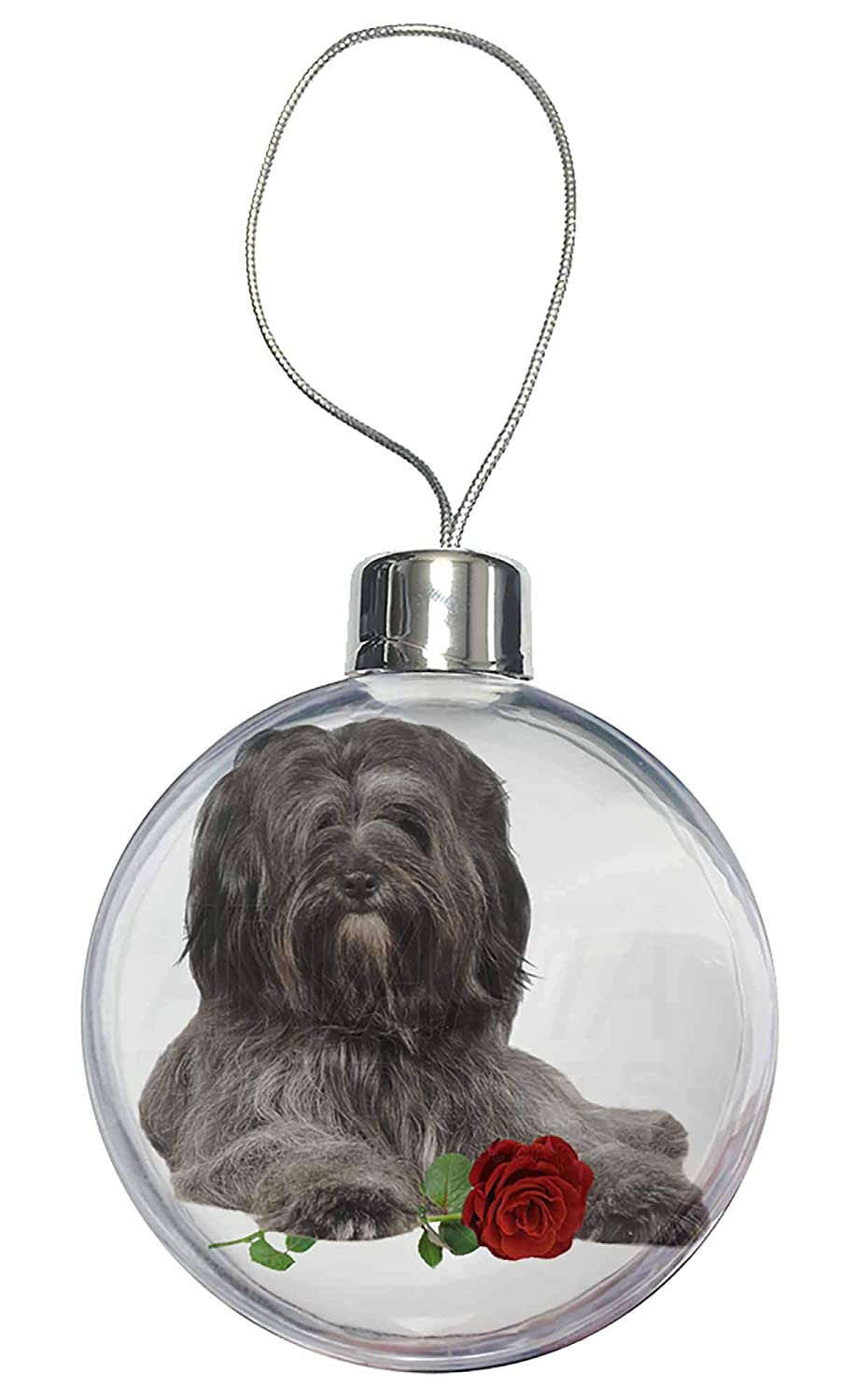 AD-TT2RCB Tibetan Terrier with Red Rose Christmas Tree Bauble Decoration Gift