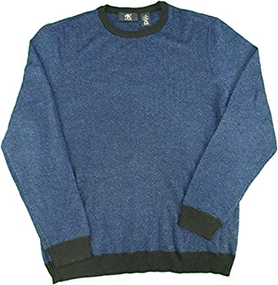 Calvin Klein Men's Size Large Italian Yard Pullover Sweater Blue/Black