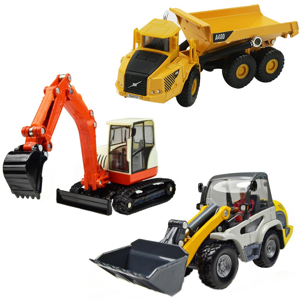 iPlay, iLearn Heavy Duty Construction Site Play Set, Collectible Model Vehicles, Metal Tractor Toy, Dump Truck, Excavator, Digger, Compact Gift Toy for 3, 4, 5 Year Olds, Toddlers, Boys, Kids by iPlay, iLearn