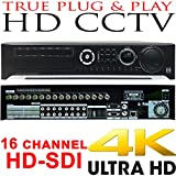 USG Business Grade 4MP 16 Channel HD-SDI Security DVR + 4TB HDD : Up To 4MP Video Resolution, 16x BNC HD Video-In, 8x SATA, USB, 2x HDMI + VGA + Spot BNC, RCA Audio, RS232C, Alarm : Free Phone App