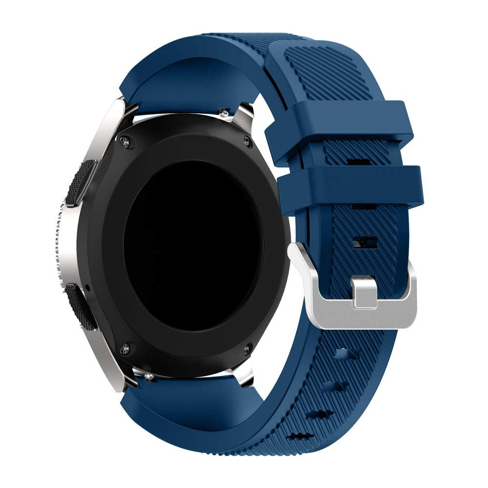 KFSO Compatible Samsung Galaxy Watch 42mm/46mm,Soft Silicone Watch Band Replacement Band Strap (Navy, 46mm)