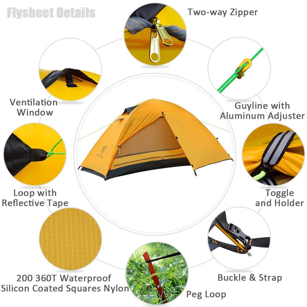 GEERTOP Tienda iglú de Campaña Impermeable Ultra Ligera 1 Persona 3 a 4 Estaciones - 90 x 210 x 100 cm (1,9kg) - UV Resistente para Acampar Excursionismo y ...