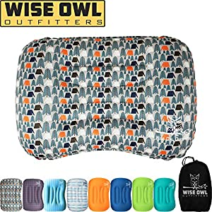Wise Owl Outfitters Ultralight Inflatable Air Camping Pillow Compressible Compact Inflating Small Travel Pillows for Sleeping Backpacking Hammock Car Camp, Beach - Smart Push Button Air Valve–Camper