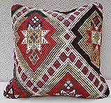"Large Kilim Pillow Vintage Kelim Cushion Cover Antique Pillows Sofa Art 20 x 20"""