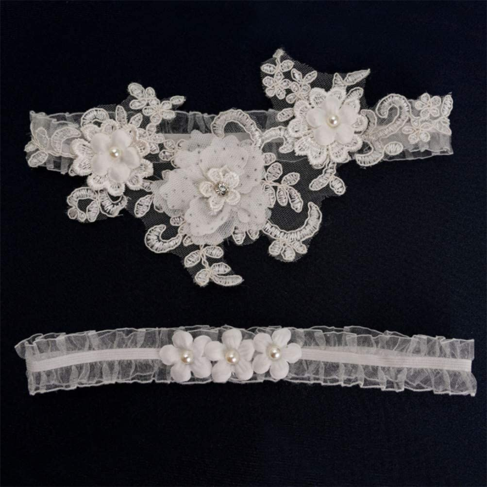 White Flybloom Elastic Wedding Garter Rose Pearl Garter Party Bridal Accessories Lace Leg Garter Belt