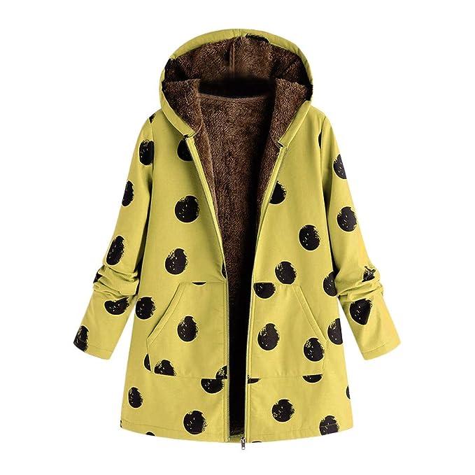 Linlink Abrigos Mujer Invierno Elegantes más el tamaño con Capucha de algodón de Lino de Manga Larga de Piel mullidas Chaqueta de Cremallera Abrigo Outwear: ...