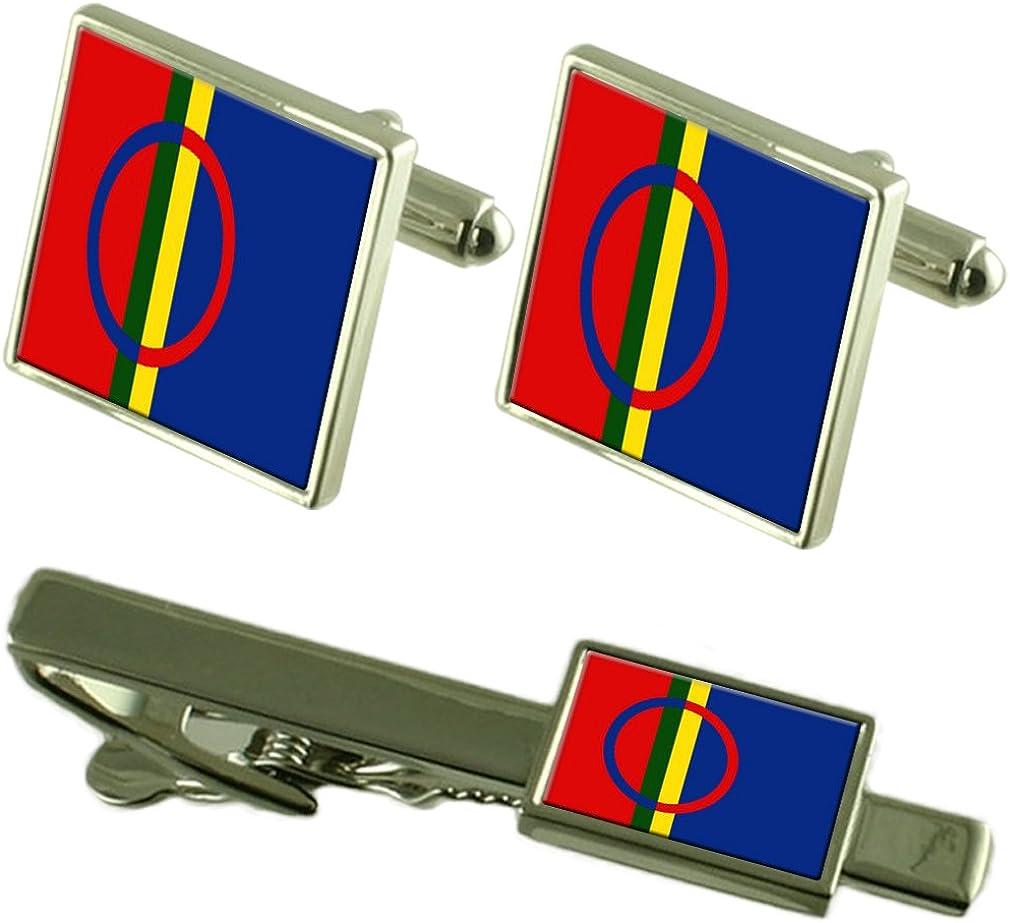 Sami Flag Cufflinks Tie Clip Matching Box Gift Set