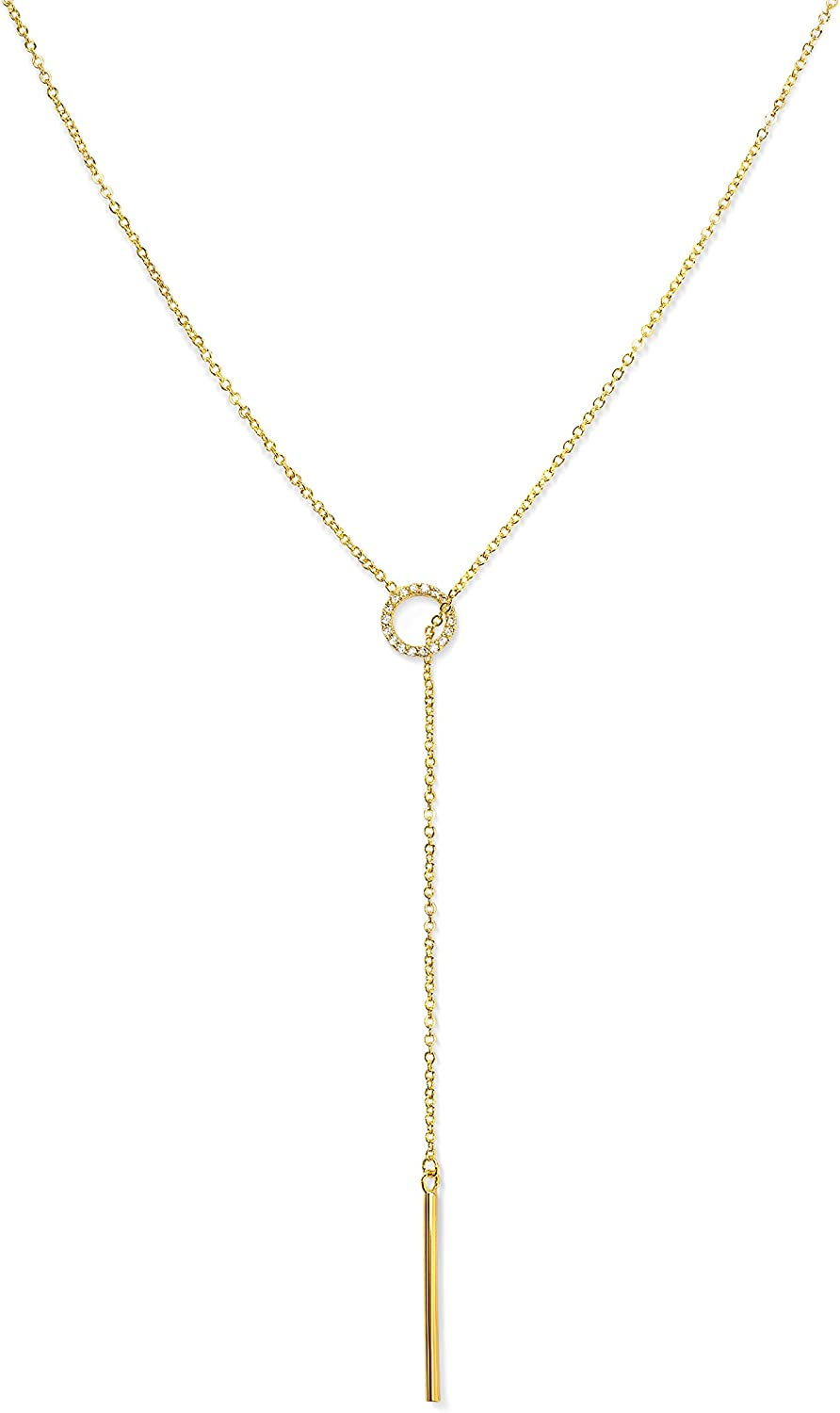 Long Gold Chain Lariat Necklace Dainty Open Necklace with Pearl Open End Y Necklace for Women Minimalist Delicate Statement Jewelry Gift
