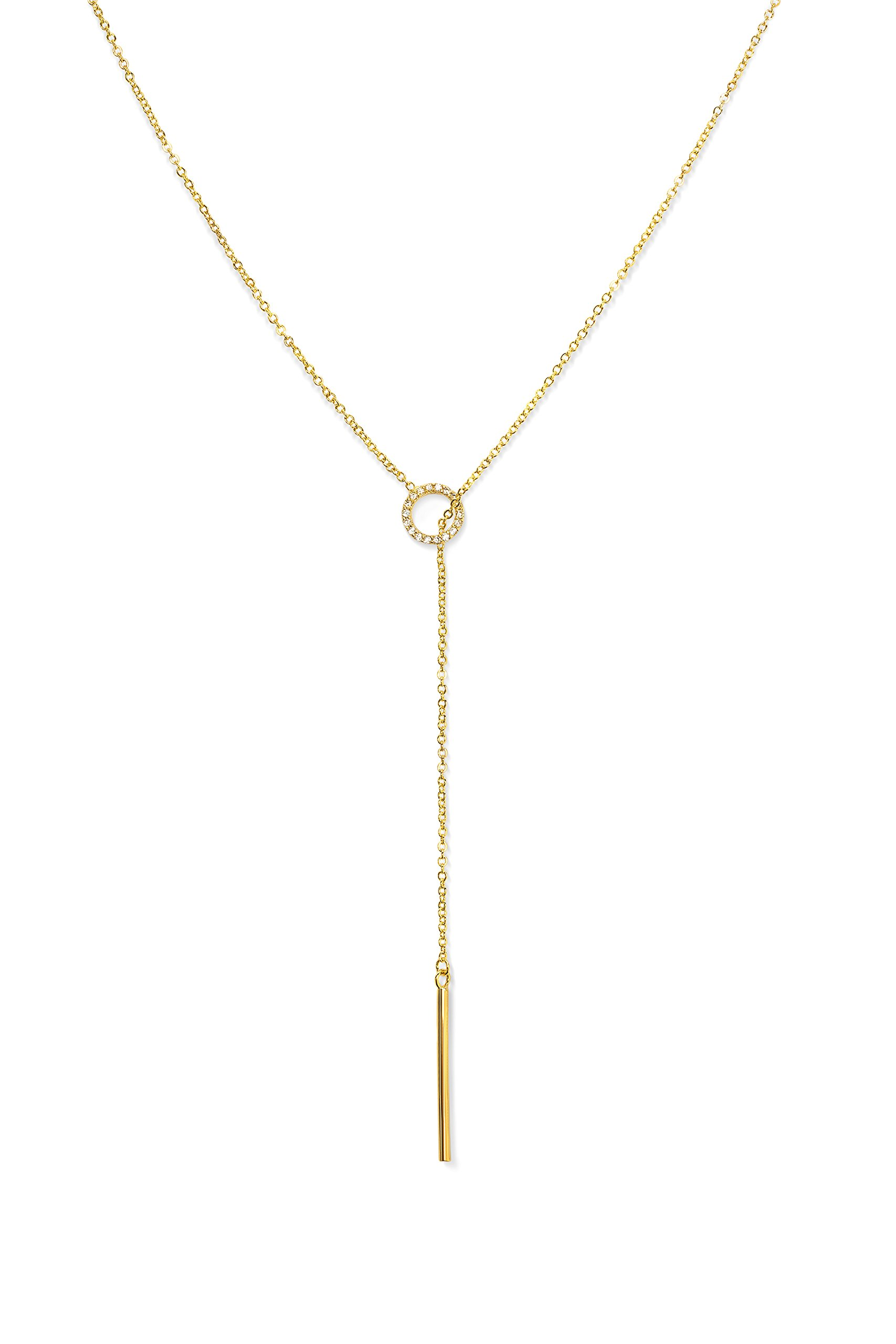 Gorgeous Y Necklaces for Women | Candace Cameron Designed Lariat Necklaces | Gold Necklaces for Women | Y Necklace | Drop Necklaces for Women | 14k Gold Necklace | Front Adjustable Long Chain Necklace