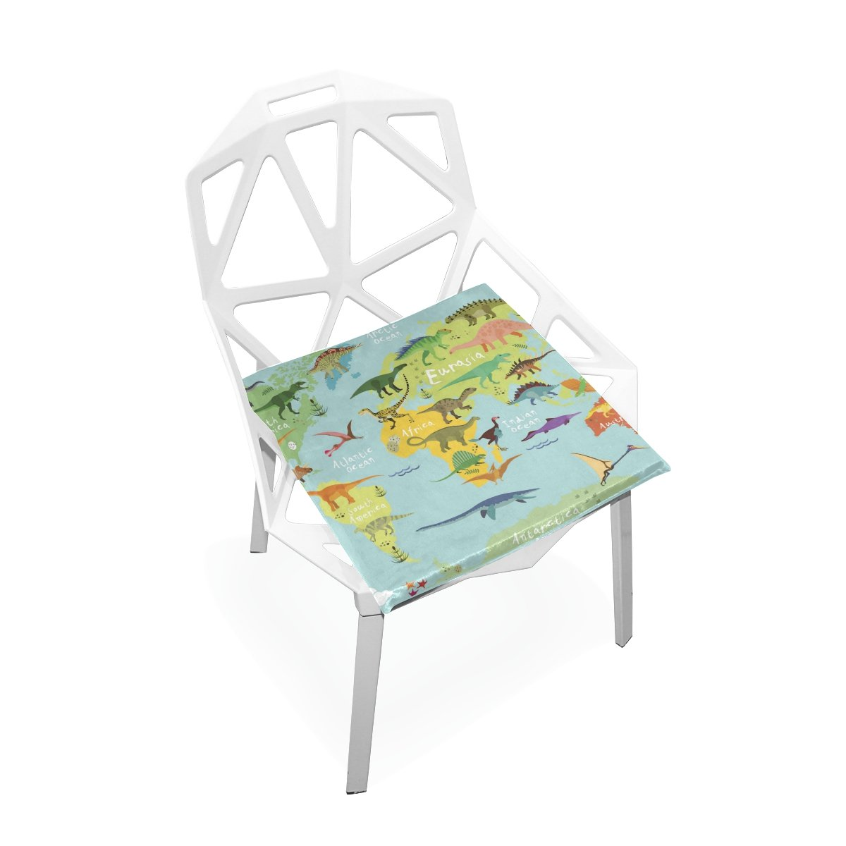 PLAO Chair Pads Dinosaurs Map Of The World Soft Seat Cushions Nonslip Chair Mats for Dining, Patio, Camping, Kitchen Chairs, Home Decor