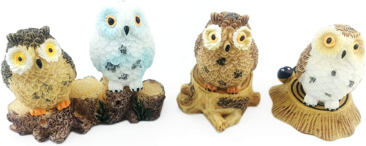 HoneyToys 7pcs Resin Mini Owls Mini Stumps, Miniature Figurines, Fairy Garden Accessories, Fairy Garden Supplies, Fairy Garden Animals for Fairy Garden, Plant Pots, Bonsai Craft Decor