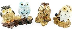 HoneyToys 7pcs Resin Mini Owls Mini Stumps, Miniature Figurines, Fairy Garden Accessories, Fairy Garden Supplies, Fairy Garden Animals for Fairy Garden, Plant Pots, Bonsai Craft Decor